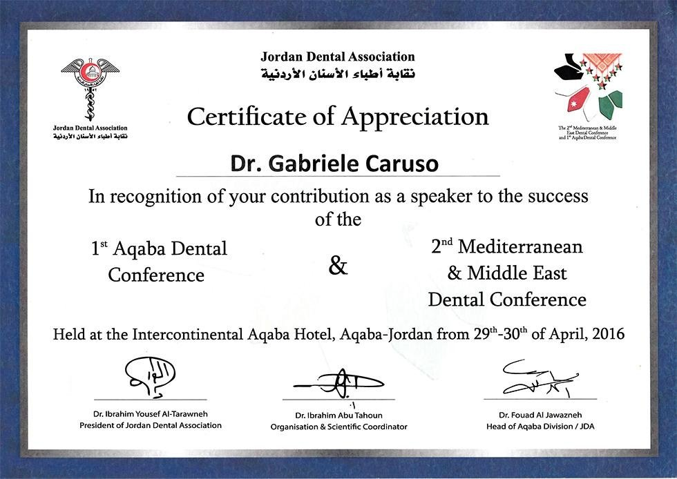 2016 - 1st Aqaba Dental Conference 2nd Mediterranean and Middle East Dental Conference - Jordan Dental Association